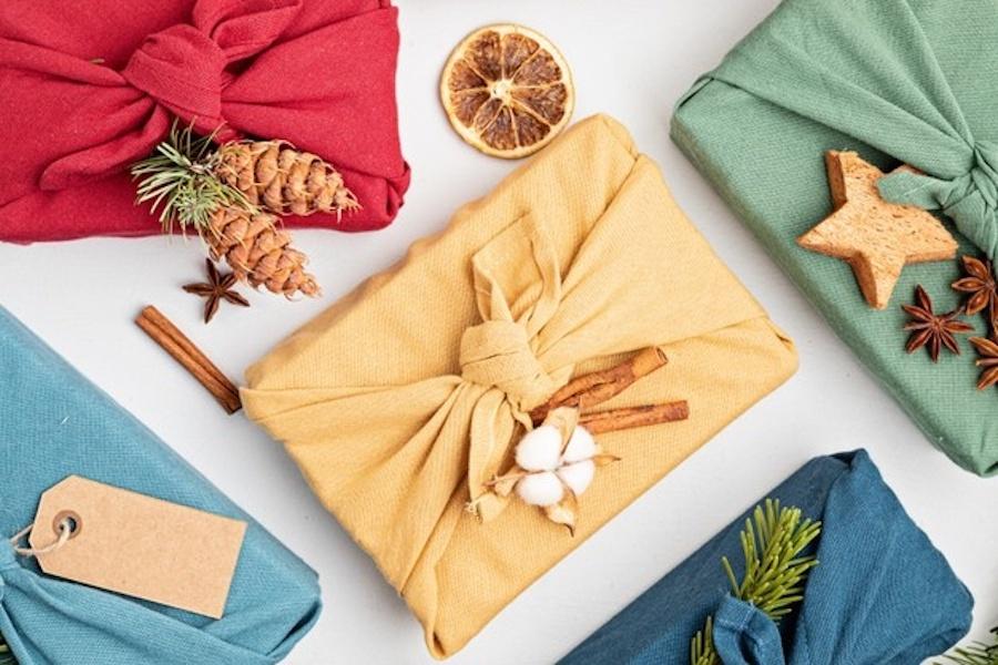 cadeau en furoshiki tissu